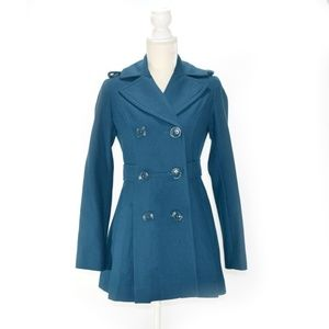 MISS SIXTY Teal Blue Flared Peacoat Wool Blend